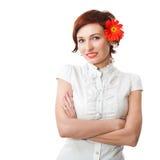 kwiatu piękny gerbera wręcza jej kobiety Obrazy Stock