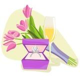 kwiatu pierścionku wektoru wino royalty ilustracja
