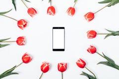 Kwiatu przygotowania czerwoni tulipany i telefon komórkowy Zdjęcia Royalty Free