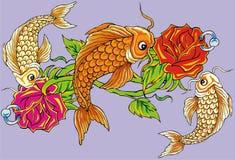 kwiatu rybi tatuaż Obrazy Stock