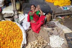Kwiatu rynek, Kolkata, India Zdjęcia Stock