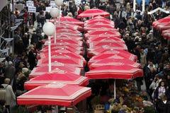 Kwiatu rynek w Zagreb zdjęcia stock