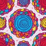 Kwiatu rysunkowego koloru zawijasa bezszwowy wzór Obrazy Royalty Free