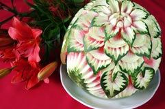 kwiatu rzeźbiący arbuz nieprawdopodobny teraźniejszy Obrazy Stock