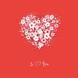 Kwiatu serca karta Obraz Stock