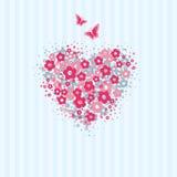 Kwiatu serce z motyl kartą Obraz Royalty Free