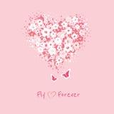 Kwiatu serce z motyl kartą Obraz Stock