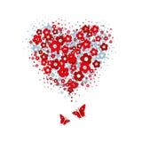 Kwiatu serce z motylami Fotografia Royalty Free