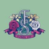 Kwiatu sklepu wektoru logo Obraz Stock