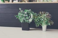 Kwiatu sklepu wnętrze, mały biznes kwiecistego projekta studio Zdjęcia Royalty Free
