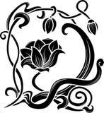 kwiatu stencil royalty ilustracja