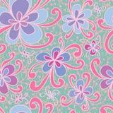 Kwiatu stylu zawijasa bezszwowy wzór Zdjęcia Royalty Free