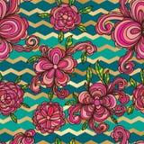 Kwiatu stylu zawijasa szewronu bezszwowy wzór ilustracji