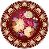 Kwiatu talerz z rękodzieło obrazem w wektorze obrazy stock