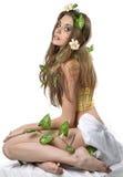 kwiatu włosy jej damy liść potomstwa zdjęcia stock