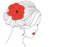 kwiatu włosy kobieta Zdjęcia Royalty Free