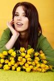 kwiatu wiosna kobieta Zdjęcie Royalty Free