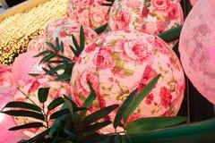 Kwiatu wzór Chińscy lampiony podczas nowego roku festiwalu Fotografia Royalty Free