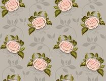 Kwiatu wzór róże w wektorze na czarnym tle Fotografia Stock