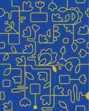 Kwiatu wzór w żółtych błękitnych colours Zdjęcia Stock