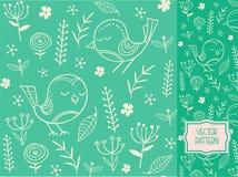 Kwiatu wzór z dekoracyjnymi kwiatami, liśćmi i ptakami, Zdjęcie Royalty Free