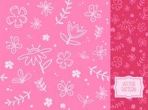 Kwiatu wzór z dekoracyjnymi motylami, gałązkami i liśćmi, Obraz Stock