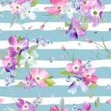 kwiatu wzoru bezszwowa wiosna Akwareli Kwiecisty tło dla Ślubnego zaproszenia, tkanina, tapeta, druk royalty ilustracja