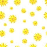 kwiatu wzoru bezszwowy kolor żółty abstrakcjonistyczny tło kwitnie biel royalty ilustracja