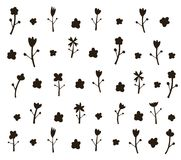 Kwiatu wzoru czerń na bielu Ręka rysująca szczotkarska ilustracja Sp zdjęcia stock