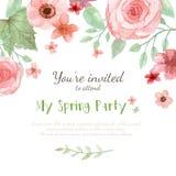 Kwiatu zaproszenia karta ilustracja wektor