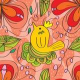 Kwiatu zawijasa ptasi bezszwowy wzór Zdjęcia Stock