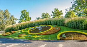 Kwiatu zegar w Angielskim ogródzie Genewa Fotografia Stock
