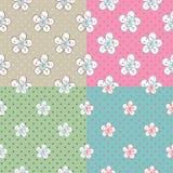 Kwiaty Apple lub wiśnia, polki kropka. Set bezszwowy  Obraz Royalty Free
