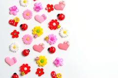 Kwiaty, biedronka, serca, tapeta Obraz Stock