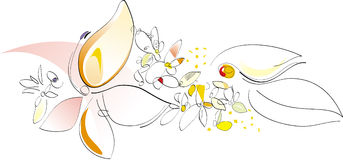 kwiaty charakteru artystycznych wiosenne ilustracyjny wektora Obrazy Royalty Free
