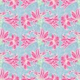 kwiaty deseniują bezszwowego wektor Błękita i menchii wzór Zdjęcie Stock
