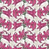 kwiaty deseniują bezszwowego wektor Różowy kwiatu wzór Zdjęcia Royalty Free