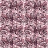kwiaty deseniują bezszwowego wektor Czerni i menchii wzór Obrazy Stock