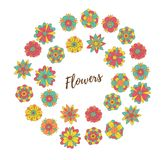 Kwiaty doodle wokoło ramy Obrazy Stock