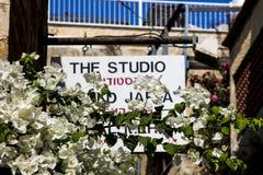 Kwiaty i budynku widok Stary Jaffa Obrazy Royalty Free