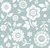 Kwiaty i gałązki, tło błękitny, bezszwowy, dekoracyjny, wektor Fotografia Royalty Free