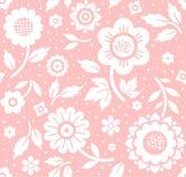 Kwiaty i gałązki, tło różowy, bezszwowy, dekoracyjny, wektor Obrazy Royalty Free