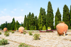 Kwiaty i garnki w ogródach botanicznych w Balchik miasteczku, Bulga Zdjęcie Royalty Free