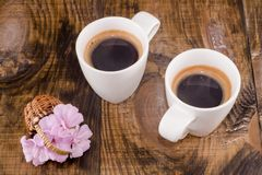 Kwiaty i kawa Zdjęcia Stock
