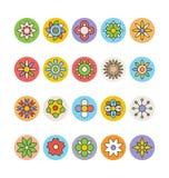 Kwiaty 7 i Kwieciste Barwione Wektorowe ikony Obraz Stock