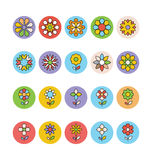 Kwiaty 5 i Kwieciste Barwione Wektorowe ikony Obraz Royalty Free