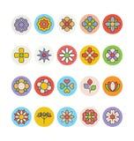 Kwiaty 3 i Kwieciste Barwione Wektorowe ikony Obraz Stock