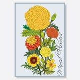 Kwiaty i liść ilustracji