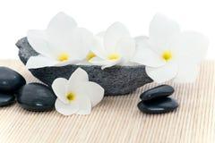 Kwiaty i masaży kamienie Zdjęcie Royalty Free