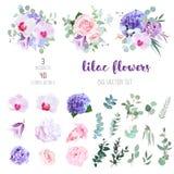 Kwiaty i mieszanka greenery duża wektorowa kolekcja royalty ilustracja